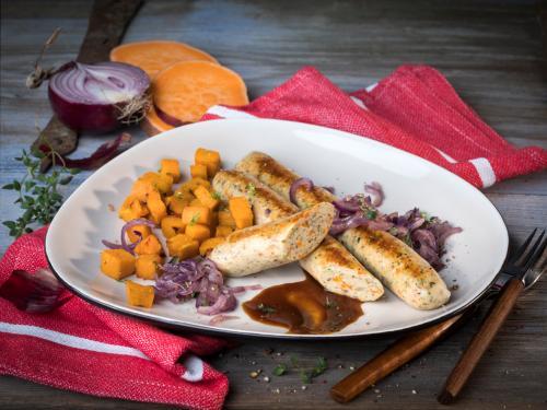 Vegane Bratwurst mit Gemüse, ca. 90 g